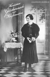 alte Konfirmationskarten, Mädchen, Blumenstrau