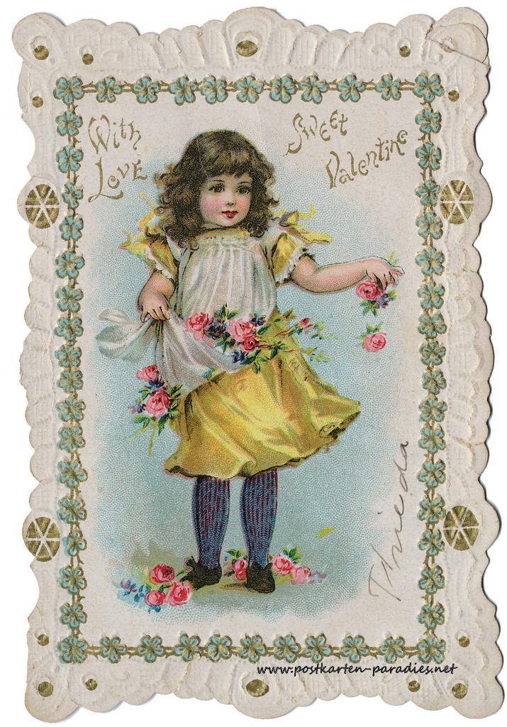 Historische Postkarte Mädchen, Liebe, Valentinstag