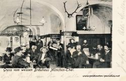 Postkarte München 1905  weisses Brauhaus München Thal