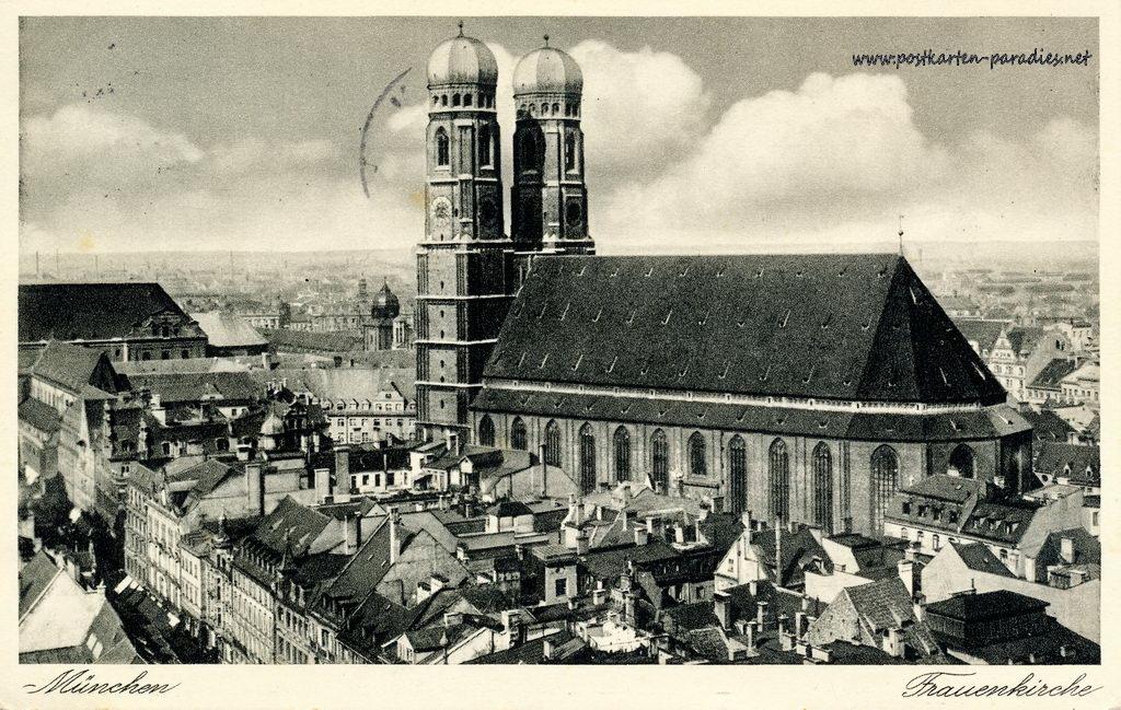 Alte Ansichtskarte München: Frauenkirche 1937