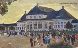 Historische Postkarte von Münchenn:  Ausstellung Secession 1908