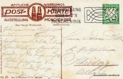 Historische Postkarte von München:  Ausstellung Secession 1908 - schön gestaltete Rückseite