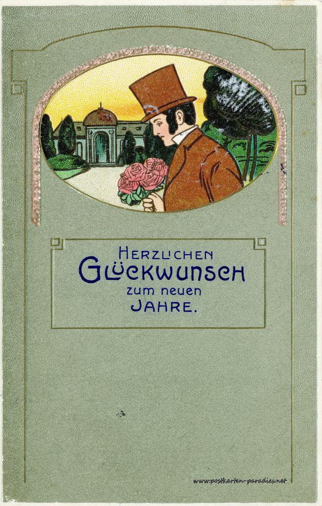 Neujahrskarten und Bleigießen-Deutung - Alte Postkarten