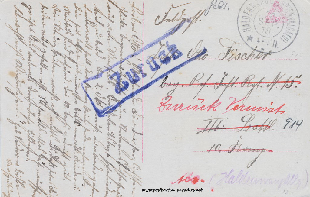 1. Weltkrieg, Feldpost, vermisst, 1916