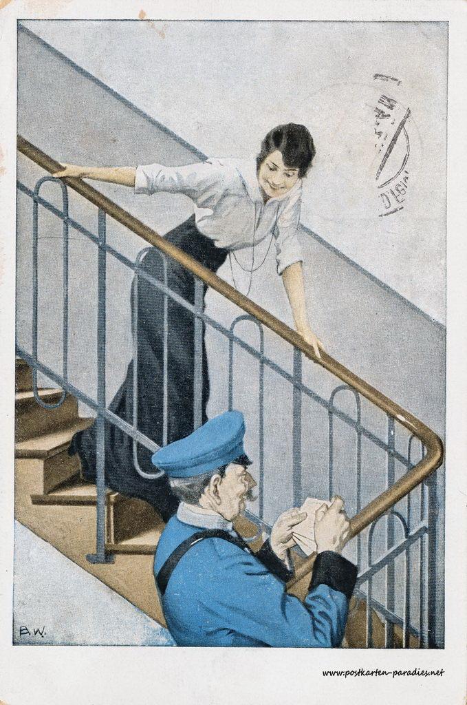 1. Weltkrieg, Feldpost, Frau, Briefträger, 1917