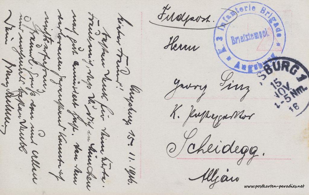 1. Weltkrieg, Feldpost, 1916