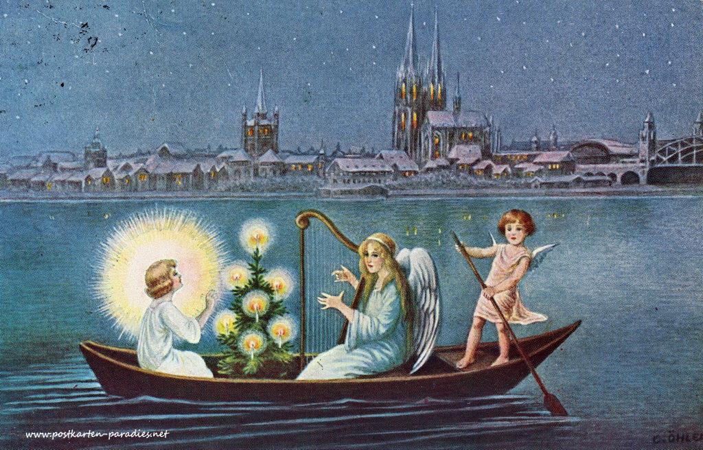 alte weihnachtskarten mit engeln alte postkarten. Black Bedroom Furniture Sets. Home Design Ideas