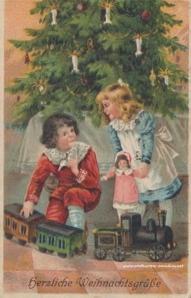 weihnachtskarten mit kindern und weihnachtsmann alte. Black Bedroom Furniture Sets. Home Design Ideas
