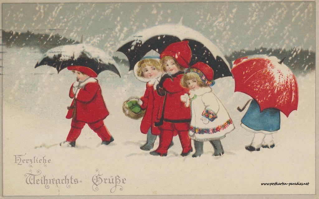 Weihnachtskarten mit kindern und geschenken alte postkarten - Digitale weihnachtskarten ...