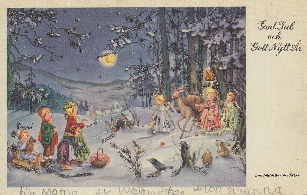 weihnachtskarten mit kindern und geschenken alte postkarten. Black Bedroom Furniture Sets. Home Design Ideas