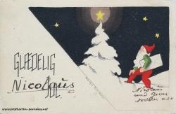 Weihnachtskarte Zwerg Schweden 1938