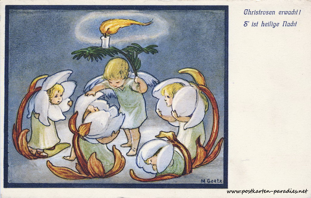 Weihnachten, Christrosen, Kinder, Jugenstil 1930