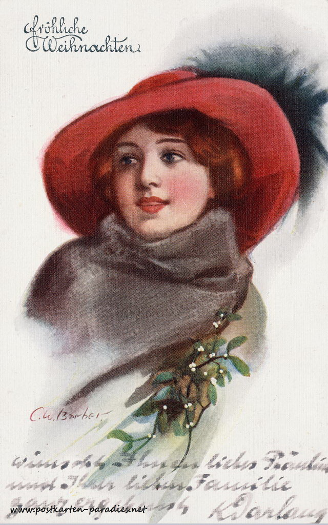 Weihnachtskarte Frau 1913